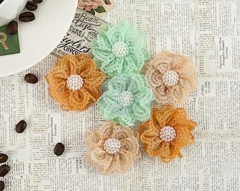 "NEW: Prima Coffee Break ""Chai Tea"" 578527 (Brown Peach Mint) Lace Fabric Flowers. Scrapbooking, Wedding, Hair Accessories."