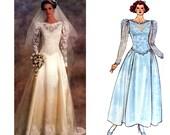 80s Wedding Dress Pattern Vogue Bridal Original 1519 Princess Seams Gown Train or Ankle Length Pattern Size 12 Bust 34 UNCUT Factory Folds