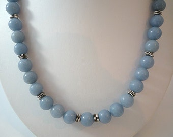 Angelite Necklace Gemstone Necklace Dusk Blue Angelite Necklace Dusty Blue Bead Necklace Silver Angelite Gemstone Necklace Angelite Strand