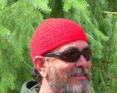 Mens Short Beanie Cap Crocheted in Cardinal Red