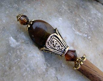 Brown Stone Japanese Hair Stick Geisha Hair Sticks Oriental Hairstick Kanzashi Hair Pins Hair Chopsticks Swarovski Topaz Haarstab - Orla