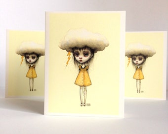 Feel Better - Stormcloud Girl - Get Well Soon - set of 3 blank notes card - by Mab Graves