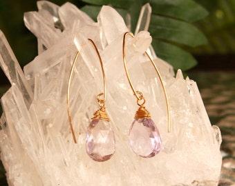 Pink Amethyst Earrings, February Birthstone, Minimalist, Gold Filled, Simple Marquise, Pink Gemstone Earrings, Lightweight, Dangle, Drop