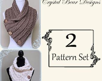 Crochet Cowl 2 PATTERN Set / Button Scarf / Neck Warmer / PATTERN Discount / PDF