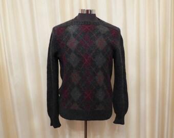 Vintage 60s Shetland Wool McGeorge of Dumfries Mens' Diamond Checkered Grey Jumper Sweater