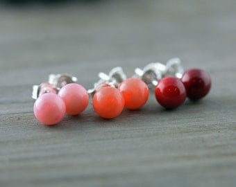 Coral Studs, Pink, Orange, or Red Coral Earrings on Sterling Silver