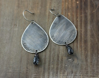 Oxidized Sterling Silver Teardrop Earrings With Tourmalated Quartz, One of a Kind