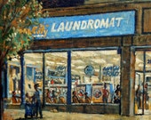 Clean City Laundromat, Yonkers, New York. Oil Painting on Canvas, 12x12 Nocturne, Urban Impressionist Night Scene, Signed Original Fine Art