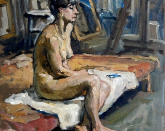 In the Studio, Repose. Original Oil Painting, Seated Female Nude, 12x12 Oil on Canvas, Realist Figure Painting, Signed Original Fine Art