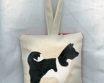 Black and White Akita Dog Hand Painted Ornament by SBMathieu