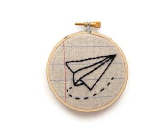Paper Airplane - Three Inch Embroidery Hoop Wall Art - Notebook Paper Fabric - Handmade