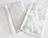 Grey & Pink Elephants and Giraffes Burp Cloths - Set of 2