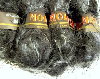 Molash by SR Kertzer - Novelty Fashion yarn of Mohair, Poly and Wool yarn - 5 Skeins Black and Gray