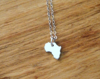 Tiny Sterling Silver Africa Charm Necklace