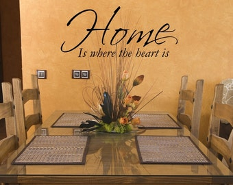 Vinyl wall decal Home is where the heart is wall quote decor   D29