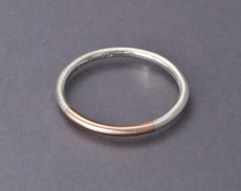 Mixed 14k Gold and Silver 1.6mm Round Ring - Married Two Tone Band