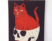 CAT & SKULL - Screen Print