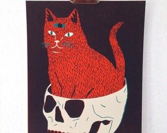 CAT & SKULL - Screen Print
