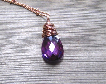 Rose Gold Filled Kunzite Necklace, Color Change Stone,  Pink Blue Purple,  Wire Wrapped, Satellite Chain, Pink Gold Pendant