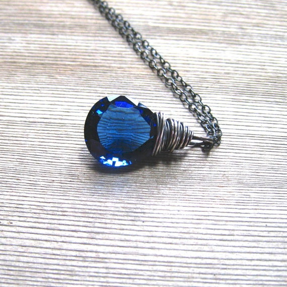 Blue Sapphire Pendant,   AAA Kashmir Quartz,  Oxidized Sterling Silver, Blue Stone Necklace,  September Birthstone Jewelry