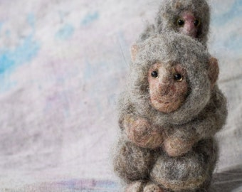 Mother and Baby Japanese Snow Monkeys - Needle felted handmade animal sculpture