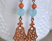 Vintage Copper Filigree Earrings with Coral and Blue beads