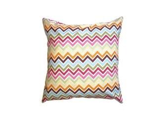 "Rainbow Chevron Stripe Cushion Cover Bright Print Cotton 14"" 35cm Pillow Case Pink Orange Green Blue Modern Home Decor Living Gift Ideas"