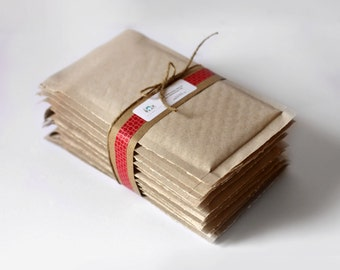 Brown Kraft Bubble Mailers- 4.25 x 7 in-  Set of 50 | Brown Bubble mailers / Shipping Envelopes / Shipping Materials / Kraft