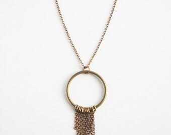 Brass Fringe Necklace, Bohemian Necklace, Brass Jewelry