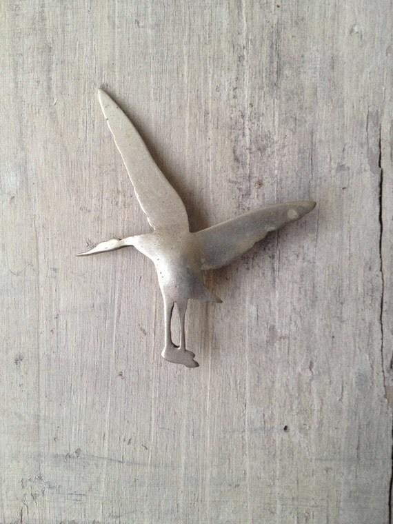 Silver Crane Brooch