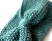 Seed Stitch Earwarmer in Balsam Fir Green - Bow Detail in Front - Adult 100% Wool - Great Stocking Stuffer