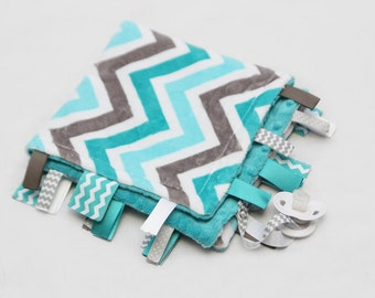 Baby Ribbon Tag Blanket - Minky Binky Blankie - Grey and Teal Chevron