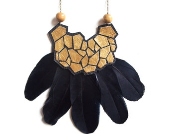 Gold Geometric Statement Necklace, Black Feather, Leather and Wood Necklace, Metallic Hexagon Bib, Geometric Jewelry