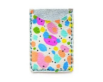 Simple Wallet, Leather Card Holder, Leather Wallet, Business Card Holder, Colorful Polka Dot Art Wallet, Modern Card Case, Minimal Wallet