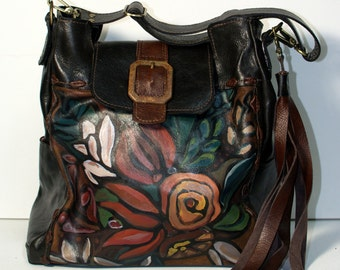 Leather tote bag, hand painted, floral,large, dark brown, espresso, travel bag