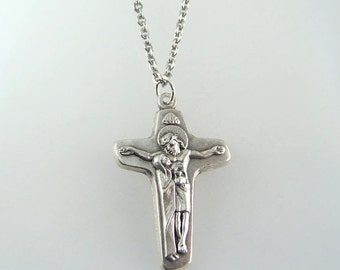 Jesus with Mary at His Side Crucifix Necklace