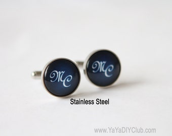 Christmas Gift for him mens monogram cufflinks Personalized cufflinks Personalized gift for him Monogram cuff link Personalized cuff link