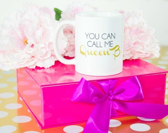 You Can Call Me Queen B / black and gold coffee mug - quote - inspirational mug - ceramic - gift - queen bee - royalty - Lorde