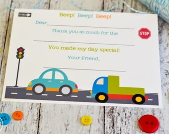 Kids Fill In the Blank Thank You Notes / Kids Thank You Notes / Childrens Thank You Note Cards / Fill In The Blank Cars and Trucks Design