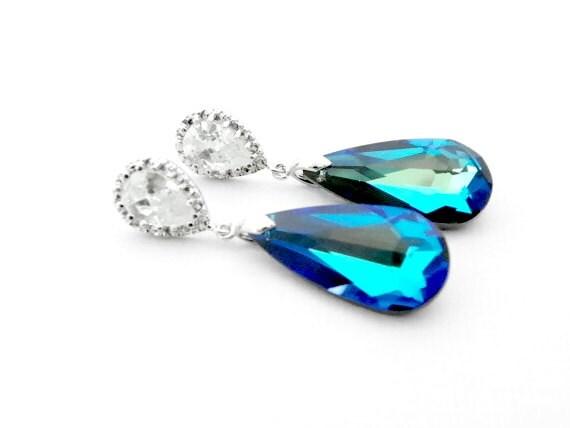 Peacock Blue Wedding Earrings, Peacock Wedding Ideas, Peacock Wedding Jewelry, Peacock Bridesmaid Earrings, Bermuda Blue Swarovski Earrings
