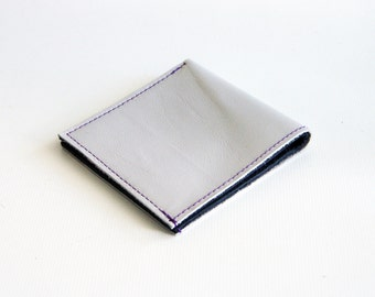 Handmade Grey Leather Bill Fold Wallet For Cards & Notes