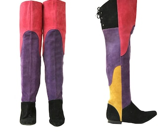 Color Blocked Suede Leather Tall Pirate Boots // 7