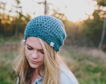 Crochet Hats for Girls, Slouchy Hat in Jacquard, Crochet Wool Hat, Winter Slouch Beanie, 5T to Preteen (Morgan)