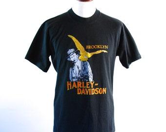 RARE Brooklyn New York Harley Davidson Tee, Tommy Gun Gangster Harley, 50/50 Polyester Cotton Blend