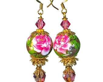Hot Pink Rose Earrings, Flower Dangle, Flower Earrings,  Floral Jewelry