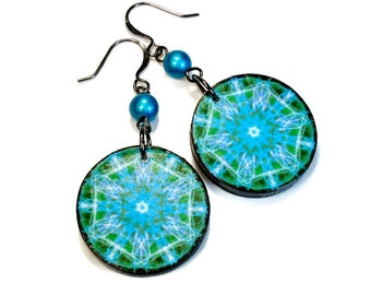 Turquoise Dangle Earrings, Art Jewelry, Sacred Circle, Mandala Art, New Age, Third Eye SMALL