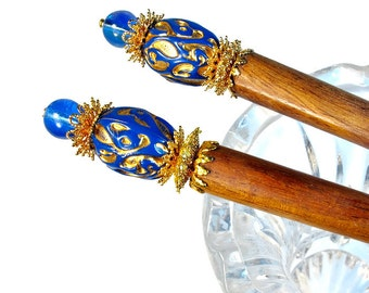 Cobalt Blue Hair Jewelry , Accessories for Long Hair, Hairsticks, PAIR