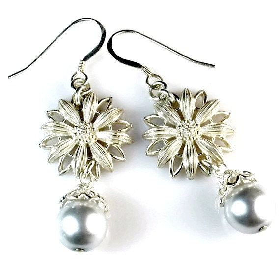 Sterling Silver Flower Dangle Earrings, Daisy, Vintage Inspired, Handcrafted Jewelry