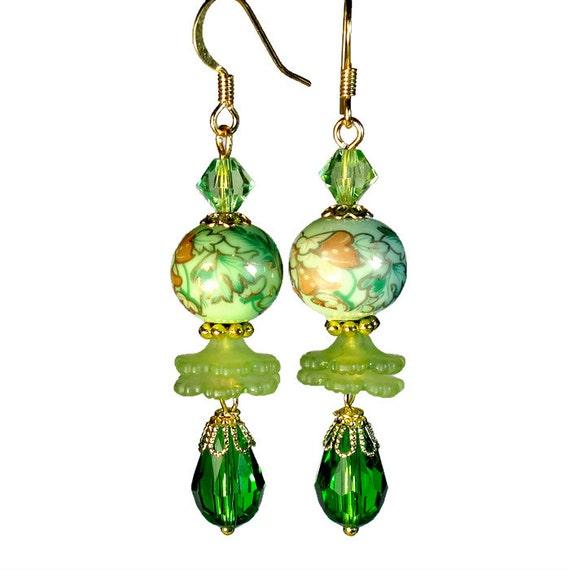 Vintage Inspired Lime Green Earrings Bead Dangle By