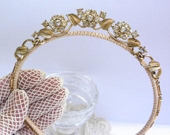 Vintage Bridal Headband, Wedding Headband, Bridal Headpiece, Bridal Hairband, Coro Headpiece, Diamante Tiara, Wedding Hairband